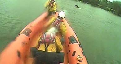 A Lough Derg RNLI crew approach the horse. Photo: RNLI video