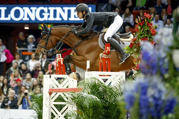 Steve Guerdat and Corbinian on their way to a second successive Longines FEI World Cup Jumping victory.
