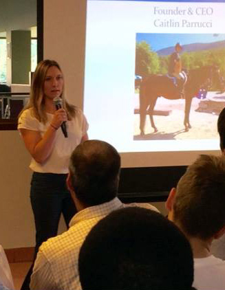 Caitlin Parrucci during a presentation on Equine Design's Water Monitoring device.