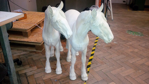 Two of the Invisible Horse Trail sculptures.