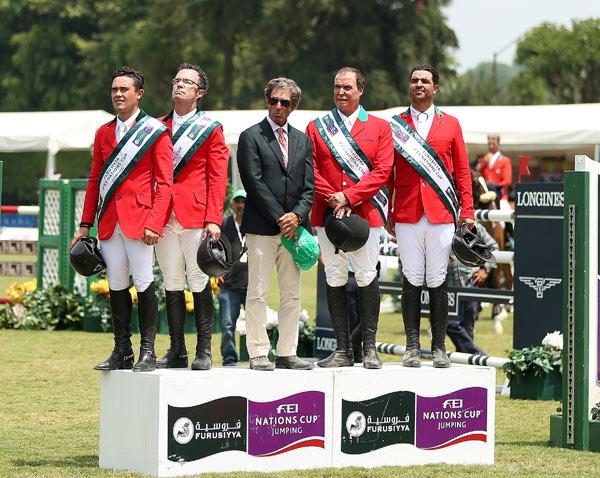 The winning Mexican team, from left, Juan Jose Zendejas Salgado, Jose Antonio Chedraui Eguia, manager Norman Dello Joio, Federico Fernandez, and Nicolas Pizarro.