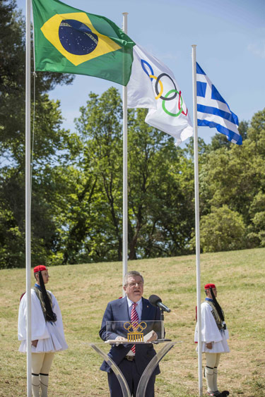 IOC President Thomas Bach at the Olympic Torch Lighting Ceremony for the Rio 2016 Olympic Games in April at in Olympia on the site of the ancient Olympic Games dating back to 776BC.