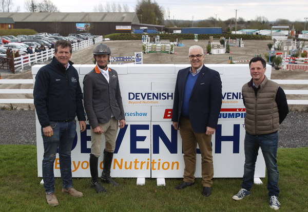 Pictured at the launch of the Mullingar International Horse Show, from left, show director Robert Fagan, Francis Connors, Winner of the 2015 Devenish Bet Showjumping Live Class, Devenish Group CEO Richard Kennedy, and John Fagan from RTE's 'Big Week on the Farm'.
