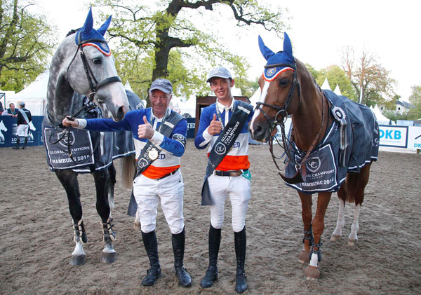John Whitaker and Bertram Allen of Valkenswaard United won the latest Global Champions League team event in Hamburg on Friday.