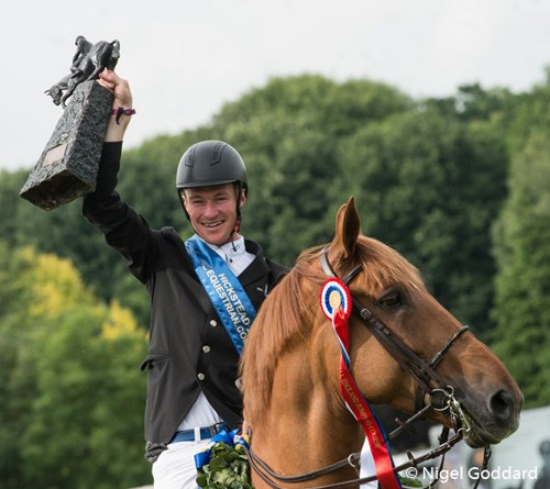 William Whitaker celebrates his Hickstead Derby win on Glenavadra Brilliant. © Nigel Goddard