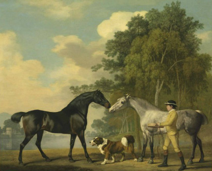 Two hunters with a young groom and a dog by a lake, painted by George Stubbs in 1778.