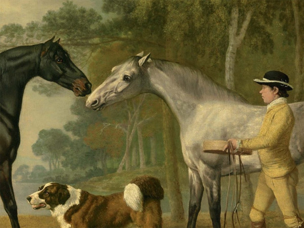 """Detail of the George Stubbs oil painting """"Two hunters with a young groom and a dog by a lake"""" to be sold at Christies later this month."""
