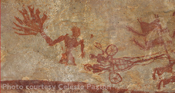 """Closeup of """"Chariot Drawn by Four Horses,"""" including the mysterious figure at left, """"a very unusual subject in rock art,"""" Paxton says."""