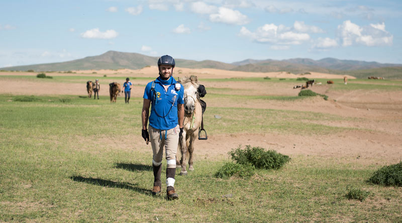 Daniel Reeds on the first day of the Mongol Derby, in 2015.