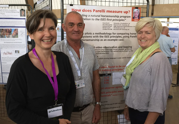 Researchers, from left, Harriet Laurie, Andrew McLean, and Ann Hemingway at the recent ISES conference. The method they used could be used to assess a range of horse training methods.