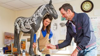 Olympic gold medallist Sir Mark Todd collaborated with artist Michelle McCullagh to bring the story of abandoned Thoroughbred horse, Fern to life for World Horse Welfare's Invisible Horse sculpture trail at Badminton.