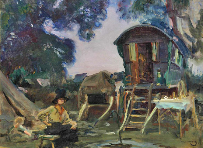 """A second work by Munnings in the Christie's sale on October 26, titled """"The Black Hat"""" and featuring Hampshire Gypsies, has a pre-auction estimate of $US300,000 to $400,000."""