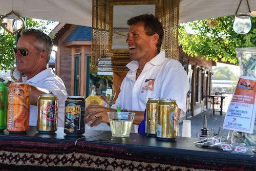 """Bobby Costello and Boyd Martin team up behind the bar for theCelebrity Bartender Showdown to raise funds for the""""Buy a Donkey a Drink"""" campaign."""