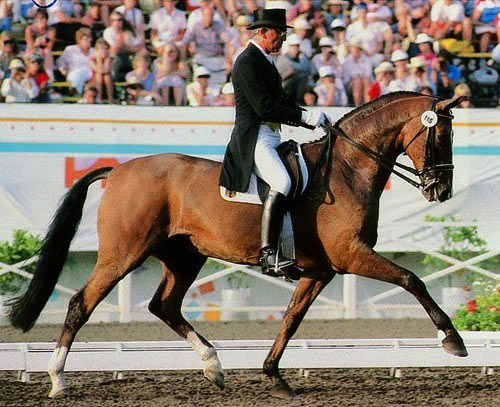 Dr. Reiner Klimke and Ahlerich at the 1984 Olympics in Los Angeles.