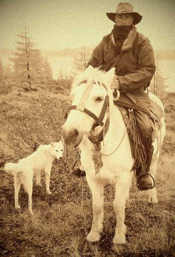 Ian Robinson and Katchula, with Dogor, in the taiga last September.