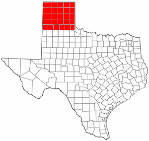 Map showing the Panhandle region of Texas, which comprises 26 counties.