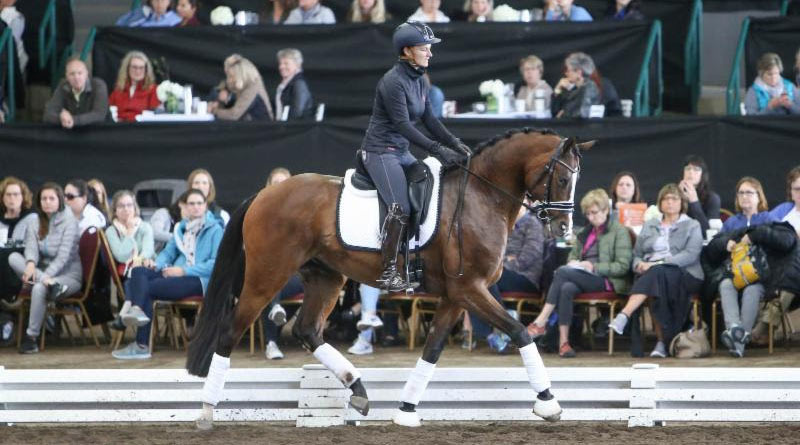 Amelie Kovac and her four-year-old KWPN Ivar at theWest Coast Dressage Convention.© Annan Hepner/Phelps Media Group