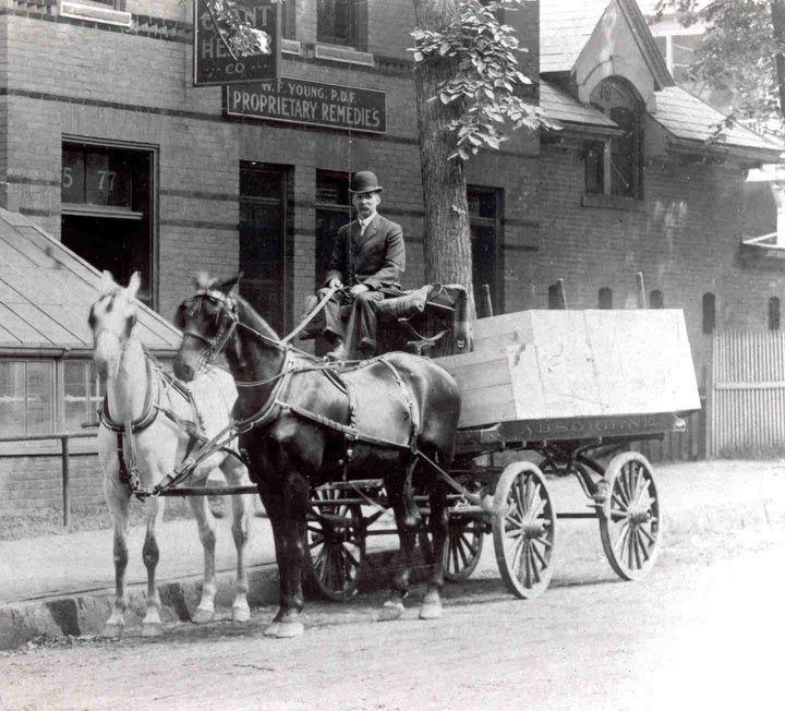 WF Young with his Absorbine delivery wagon in front of his store in Springfield, Massachusetts.