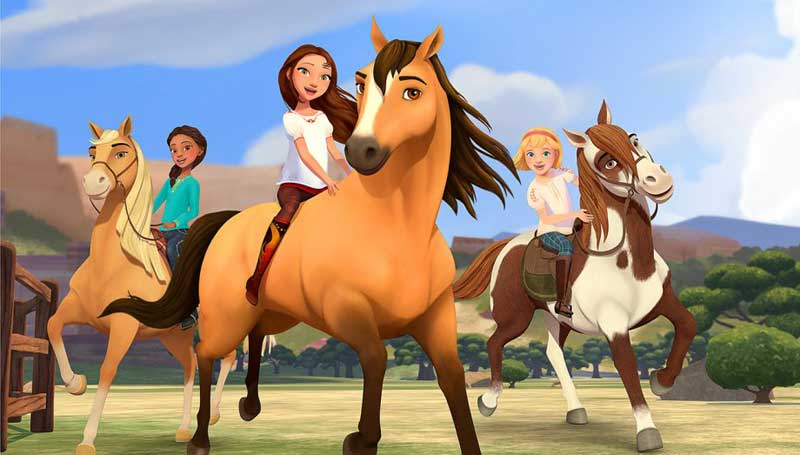 The three girls enjoy a series of adventures with their horses. Image: Netflix
