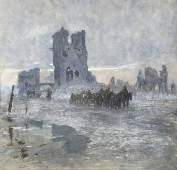 Gilbert Holiday: Horse-drawn Transports Passing the Ruined Cloth Hall, Ypres.