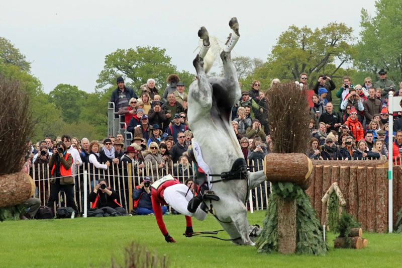Paul Tapner together with Bonza King of Rouges come upwards to grief at Badminton Air vests together with trunk protectors compared inwards eventing falls study