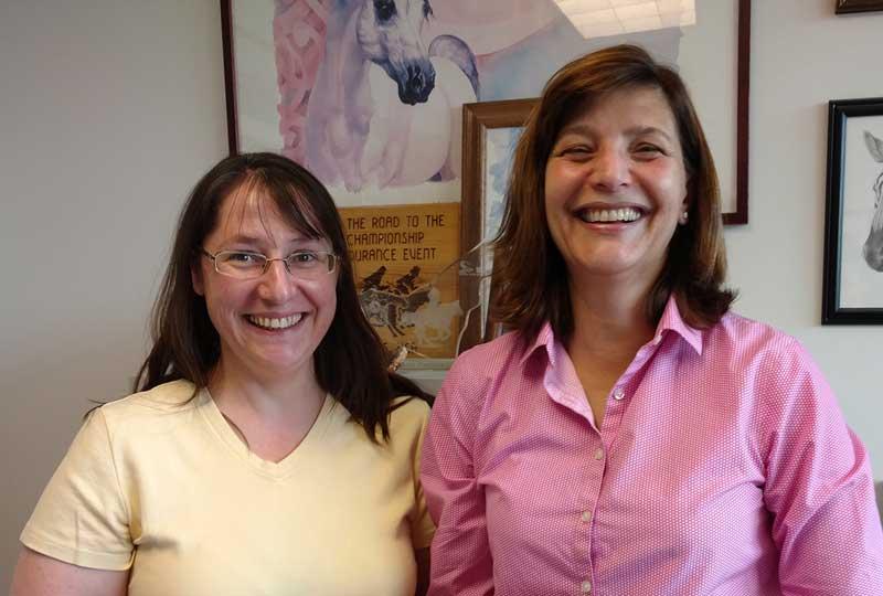 Research associate Rebecca Tallmadge, left, and Dr Julia Felippe, associate professor of large animal medicine. Photo: Elodie Gazave
