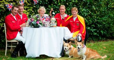 The German team with Liz Edgar ahead of the Nations Cup leg at Hickstead.