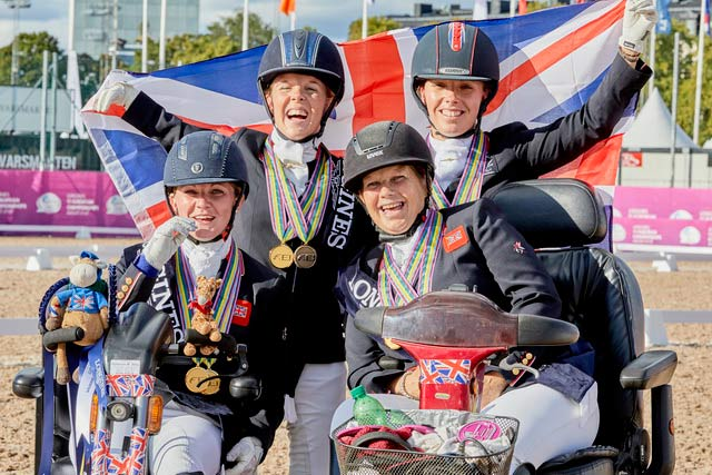 Para Dressage Team gold medalists Great Britain at the Longines FEI European Championships 2017 in Gothenburg, Sweden. From left, Susanna Hext (Grade III), Erin Orford (Grade III), Julie Payne (Grade I) and Sophie Wells (Grade V). © FEI/Liz Gregg