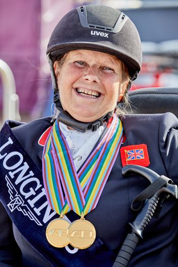 Great Britain's Julie Payne, who took home three gold medals from the European Dressage Championships.
