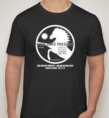 """The Wild Love Preserve's """"Path of Totality"""" commemorative t-shirt, marking the August 21 solar eclipse."""