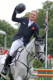 Oliver Townend shows his jubilation at winning Burghley on Ballaghmor Class.