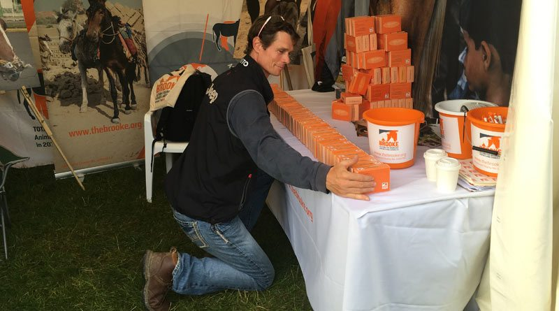 Eventer William Fox-Pitt taking Brooke's brick challenge at Osberton Horse Trials.
