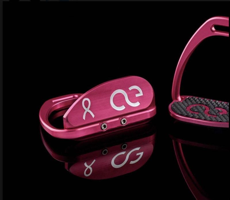 The pink American Equus racing irons that are being sold to raise funds for breast cancer research.