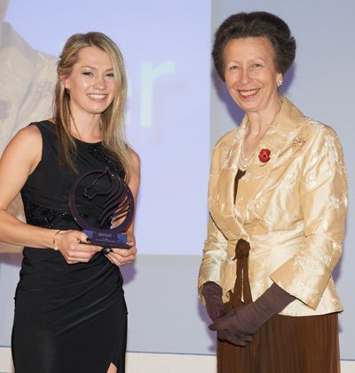 LGT Vestra Under 25 Star of the Future Award winner Charlotte Fry with Princess Anne.