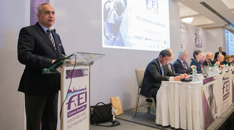 FEI President Ingmar De Vos at the FEI General Assembly in Montevideo.