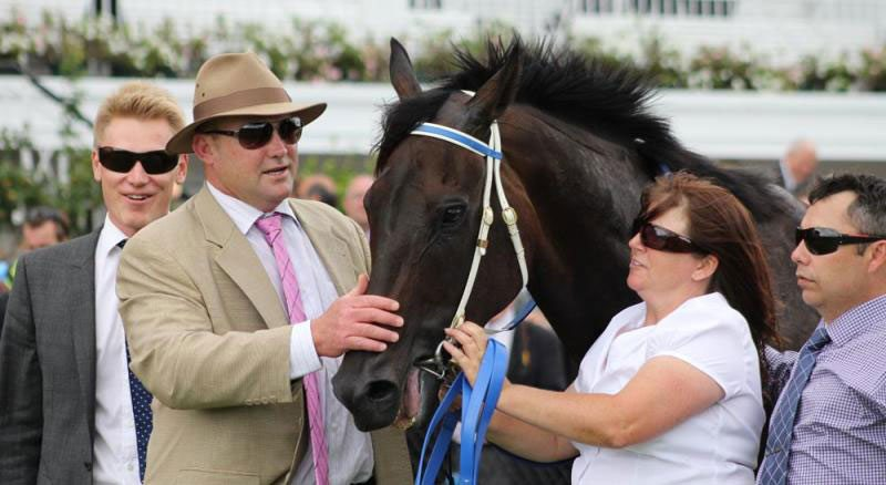 Black Caviar with Peter Moody and connections after winning the Lightning Stakes.