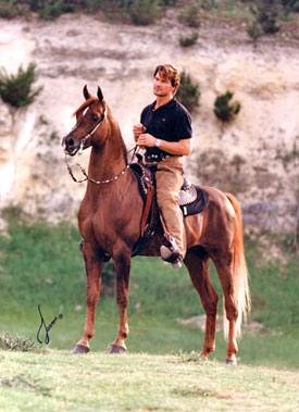 Patrick Swayze and his favourite stallion, Tammen.