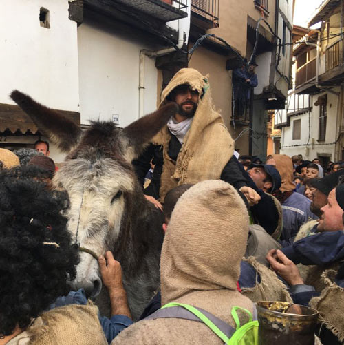 Bernabé was led through the streets of Villanueva de la Vera for more than an hour during the village's annual Peropalo festival.