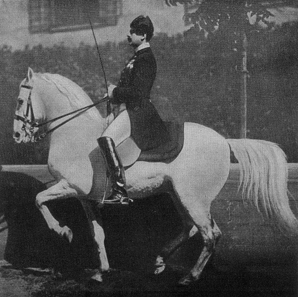 Spanish Riding School Chief Rider Johann Meixner performing the Piaffe.