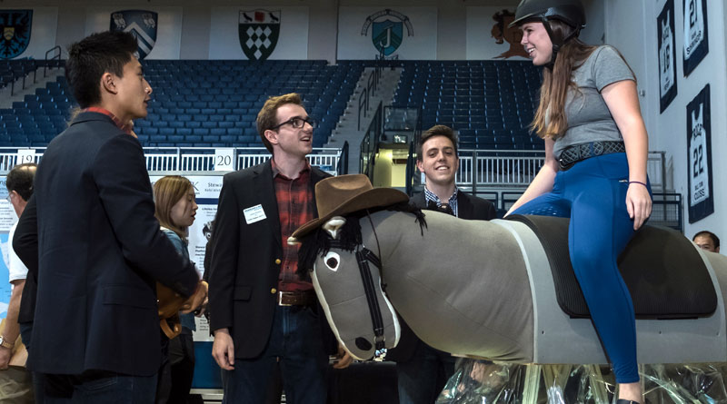 The Rice University hippotherapy horse is based on a robotic concept invented in the 1950s called the Stewart platform, which in this case uses six computer-controlled motors attached to aluminum legs that give the saddle's movement six degrees of freedom.