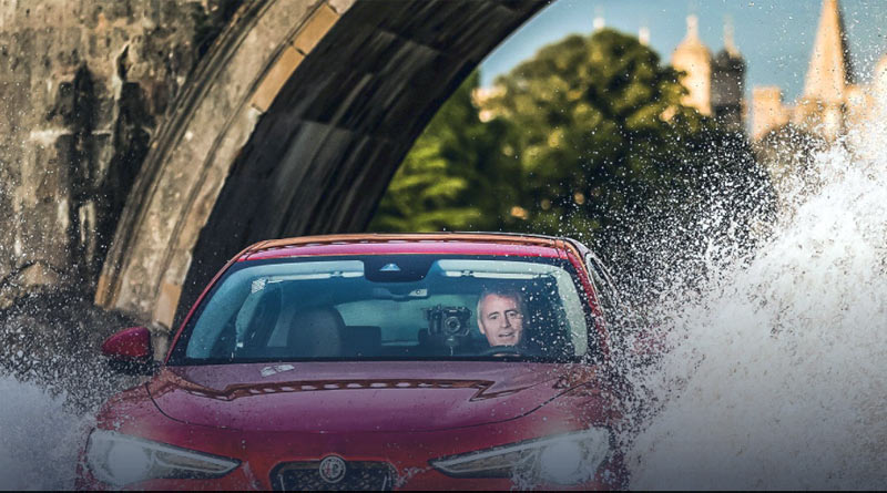 Top Gear host Matt LeBlanc tests out some horsepower at Burghley.