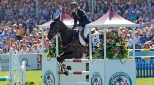 Jonelle Price and Classic Moet in action in the final phase at Badminton.