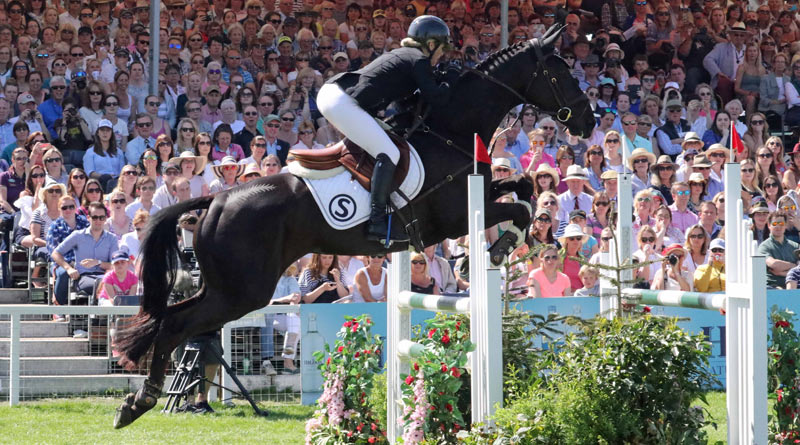 Jonelle Price and Classic Moet on their way to winning the Badminton Horse Trials in Britain.