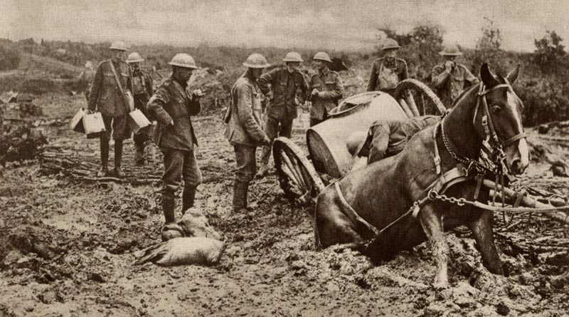 A British war horse stuck in the mud.