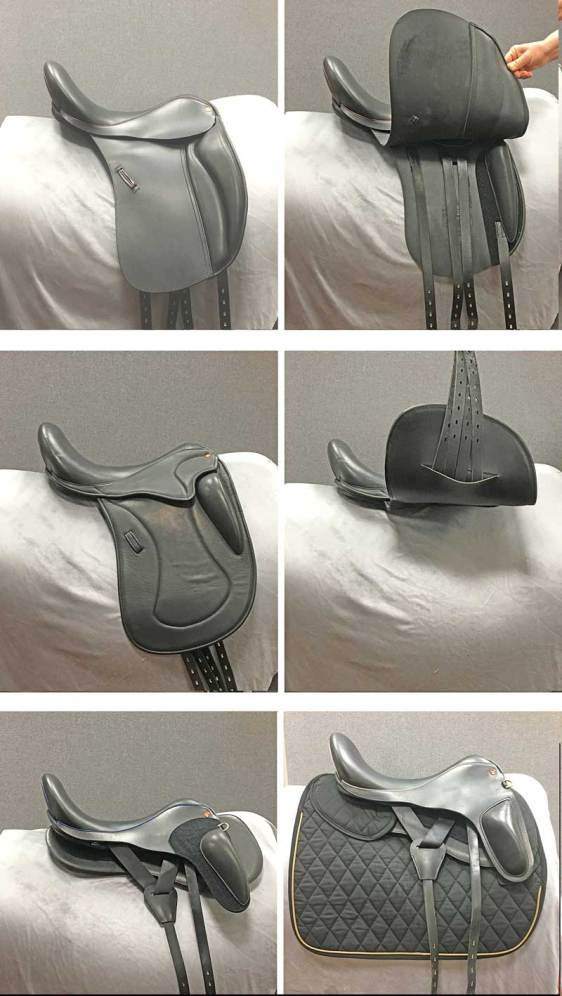 Different saddle flap configurations. Top: A conventional saddle with two flaps showing the outer flap (left) and outer flap raised to show the underlying sweat flap and girth tabs (right). Middle: A single-flap saddle showing the outer surface of the flap (left) and with the flap raised (right). Bottom: A flapless saddle without a pad (left) and with a pad (right). Images: Clayton et al. https://doi.org/10.1371/journal.pone.0196960