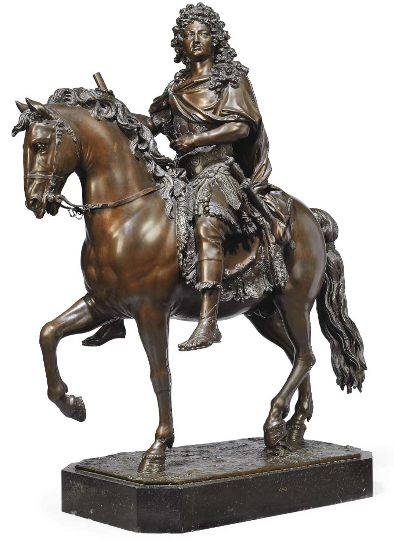 "François Girardon's ""A bronze group of Louis XIV on horseback"" is estimated to bring up to £10 million when it is offered at auction in London in July."