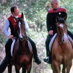 William Shatner and Patrick Stewart during the filming of Star Trek: Generations, in 1994.