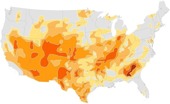 A map of US drought areas in summer 2012.