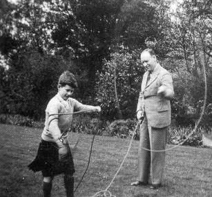 Aime Tschiffely teaching Robert Cunninghame Graham how to spin the lasso.