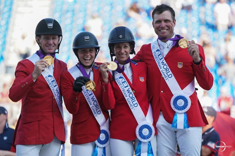 The US team ofMcLain Ward, Adrienne Sternlicht, Laura Kraut, and Devin Ryan at their presentation ceremony.